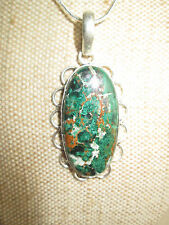 ~ Natural Azurite in Malachite Gemstone Pendant & Silver Plated Chain ~