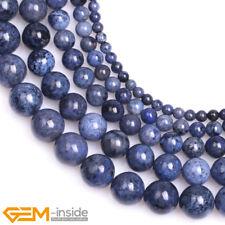 Natural Round Dark Blue Dumortierite Gemstone Beads For Jewellery Making 15'' AU