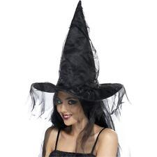 Witches Hat - Fancy Dress Halloween Womens Costume Black Ladies Long Net