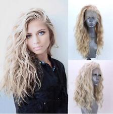 "24"" Long Wavy Full Head Blonde Wig Heat Safe Fiber Hair Lace Front Wig for Women"