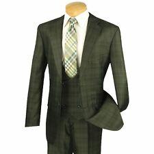 VINCI Men's Olive Green Glen Plaid 3 Piece 2 Button Classic Fit Suit NEW
