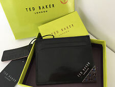 TED BAKER BLACK LEATHER CARD HOLDER WITH SILVER TONE HARDWARE CORNER & COIN BNIB