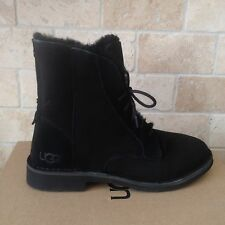 UGG Quincy Black Suede Sheepskin Lace up Ankle Boots Shoes US 8 Womens