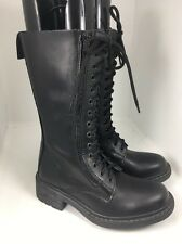 ALDO Black Leather Lace Up Combat Boots Tall Mid Calf Grunge Punk Women 38/7.5