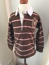 Ralph Lauren Rugby camisa polo Jersey 110 marrón 5 a rayas de manga larga camiseta polo * n