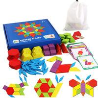 US 155pcs Creative Puzzle DIY Wood Pattern Blocks Box Montessori Learning Toys