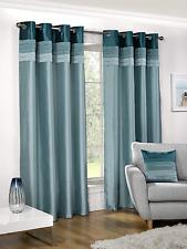 Multi Tone Pintuck Stripe Layer Faux Silk Satin Shine Lined Eyelet Curtains Pair