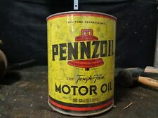 VINTAGE Pennzoil 1 One Gallon Motor Oil Can, Empty, The Tough Film, FOR DISPLAY
