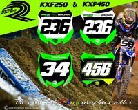 Custom printed number plate graphics kx450f kxf kxf250 kawasaki Stickers