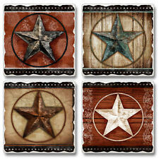 Western Lodge Cabin Decor ~BARN STAR~ Tumbled Stone Coasters Set of 4