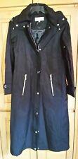 New CALVIN KLEIN Long Walking Coat Hooded Raincoat Jacket Black Size Small
