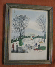 "vtg Estate Grandma Moses ""On The Road to North Adams"" folk Art Print mid century"