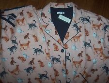 NWT PJ Salvage Salmon Pink FLANNEL Pajamas/Lounge Set CATS KITTENS in Glasses! L