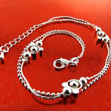 New listing Anklet Real 925 Sterling Silver S/F Solid Ladies Bead Link Design 25Cm Fs3A767