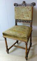 Petite Chaise de chambre tête de bélier & tapisserie médiévale ancienne XIX ème