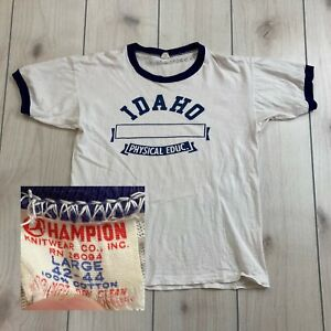 Vintage 1960's Champion Idaho Physical Education Ringer T Shirt Gym