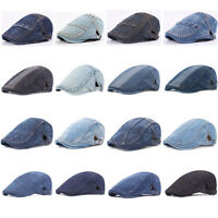 Mens Stylish Denim Golf Driving Cap Cabbie Adjustable Newsboy Classic Beret Hat