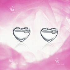 925 silver earrings simulated diamond love heart stud kids children's jewellery