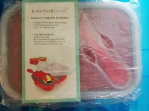 Collapsible LUNCH Box BENTO Box Household Trends NEW Microwavable with Spork