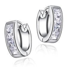 Best Selling Princess Cut Channel Set Hoop Huggies Earrings in Rhodium Plating.