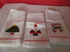 3 Christmas Napkins White with Candy Canes Tree Santa Lillian Vernon