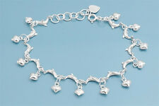 "Bracelet with Dolphin & Heart Charm Sterling Silver 925 Jewelry 7"" adjust to 8"""