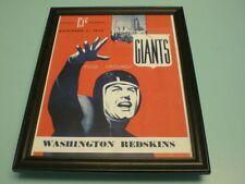 1943 GIANTS vs REDSKINS FRAMED PROGRAM PRINT