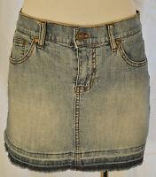 VTG 90s DKNY Urban Hip Distressed Blue Jean Denim Cutoff Micro Mini Skirt 5