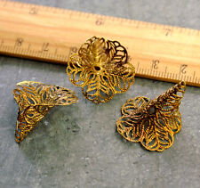 Brass Filigree Arum Calla Lily Flower Bead Cap bc41(4pcs)