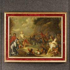 Antico dipinto olandese religioso quadro ad olio arte sacra Via Crucis 800 XIX