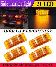 4x Amber 21 LED Side Marker Clearance Light Rectangle 12V Truck Trailer Camper