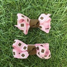 2x Baby Toddler Girl Hair Clips pairs packed BOWtique Alligator -Pink Brownspots