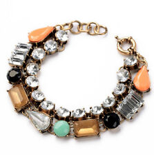 J Crew crystal mixed stone multi row  bracelet