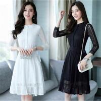 New Korean Women Lace 3/4 Sleeve Evening Party Cocktail A-Line Slim Short Dress