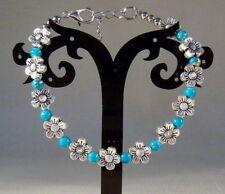 Hot Handmade Tibetan Silver Exquisite Flowers Blue Beaded Bracelet A15