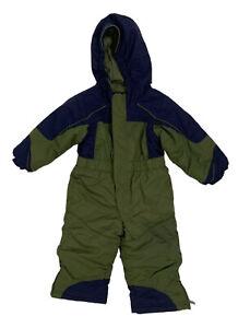 L.L. Bean Toddler Boys 2T Snowsuit Green Navy Winter Snow
