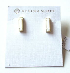 NEW Kendra Scott Lady Gold Plated Bar Stud Earrings In White Mother Of Pearl $60