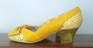 Rare Yellow Peep Toe Miss L Fire Retro Pumps Shoes Heels sz 39