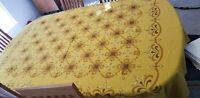 "Vintage Yellow Geometric 1970s Tablecloth Gold 54"" x 80"" made in USA"