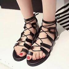 Khoee AW0128 Flat Lace Up Leg Strappy Gladiator Fashion Sandals (black)  SIZE 37