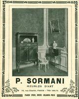 Publicité ancienne meubles d'art P. Sormani Paris 1909 issue de magazine