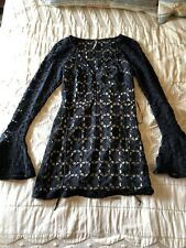 Free People Black Lace Dress Long Sleeve Mini Dress Sz 0 Nwot