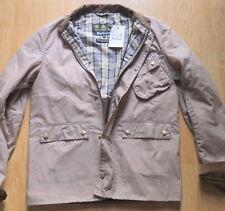 Barbour Mens Tartan Jacket Tan Waxed Cotton Coat Harrington Corduroy L New with