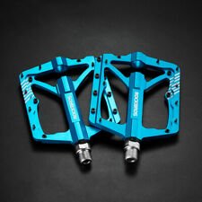 "RockBros Wide Bike Bicycle Pedals CNC Aluminum Alloy Sealed Bearing 9/16"" Blue"
