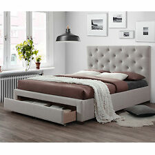 Modern Queen Size Fabric Bed Frame with 1 Drawer - Oat White