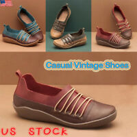 Womens Comfort Flats Retro Faux Leather Casual Slip On Comfy Loafers Boots Shoes