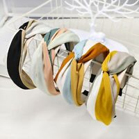Women Headband Twist Hairband Bow Knot Cross Tie Wide Headwear Hair Band Hoop/*