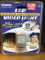 SIMA SL-10LX LED VIDEO LIGHT NIP UNIVERSAL MOUNT & RECHARGEABLE