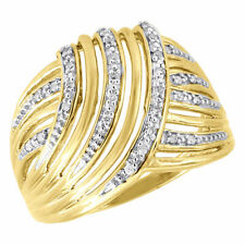 10K Yellow Gold Diamond Ladies Swirled Fashion Band Right Hand Ring 0.10 Ct.