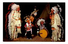 Sioux War Dancers Postcard South Dakota Indians Feathers Drum Vintage